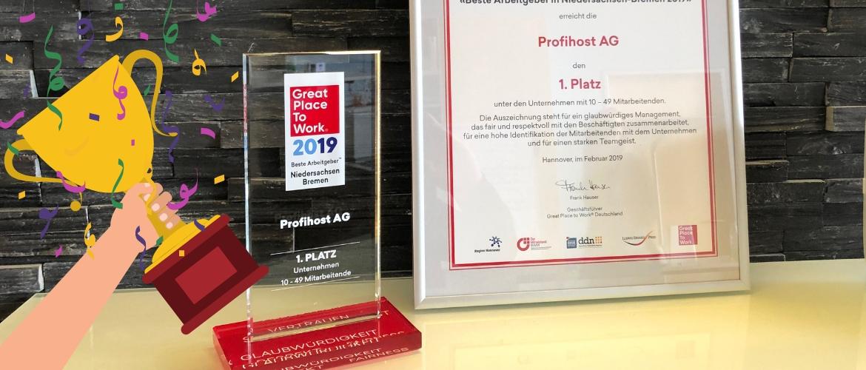 Was für eine Auszeichnung! Profihost erreicht Platz 1 beim Great Place to Work Wettbewerb
